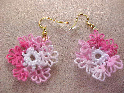TATTED Earrings Variegated Pink White Spring Flowers Tatting by Dove Country