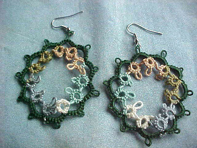 TATTED Earrings Forest Green & Variegated Sage Shuttle Tatting by Dove Country