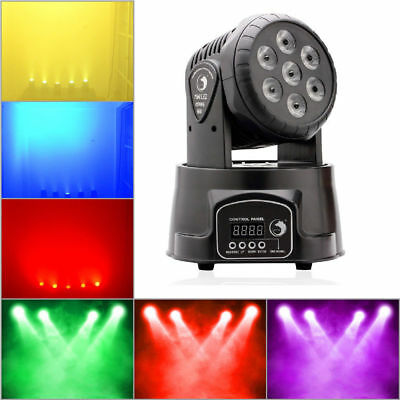 7x10W RGBW 4in1 LED Moving Head Stage Lighting 9/14CH DJ Club Disco Party Lights