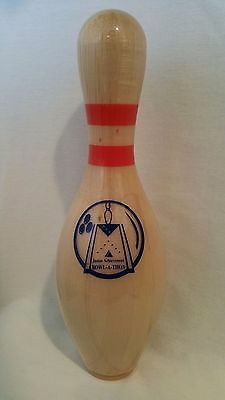 "AMF Bowling Pin Trophy, JA Junior Achievement Bowl-A-Thon, 15"" clear-coated wood"