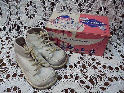 Vtg 1951 USED White WEE WALKER BABY SHOES ~ SIZE: 3 / HI / 2020 ~ ORIGINAL BOX !