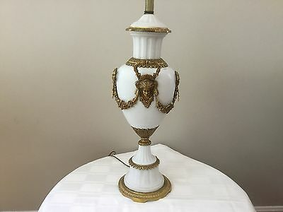 Antique Parian Bronze French Empire Table Lamp Faces Ribbons Bows