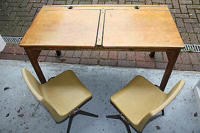 Vintage Esavian Double School Desk and 2 Classic Steelux Chairs