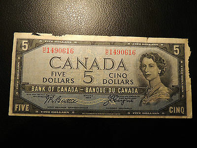 1954 BANK OF CANADA $ 5 FIVE H/C 1490616 BEATTIE COYNE DEVIL'S FACE BC-31b