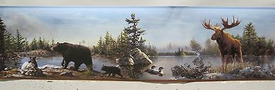 BLACK BEAR with CUBS and MOOSE by the WOODS & LAKE Wallpaper Border 6""