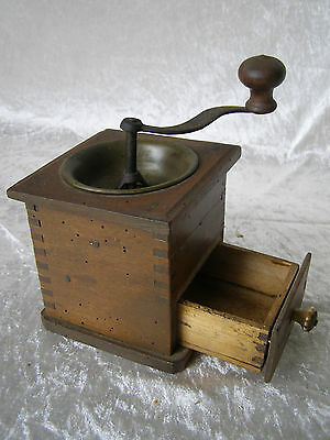 Antique Kaffeemühle Kaffee Mühle Holz Messing Metall Kurbel