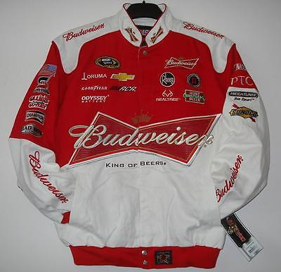 Size 4XL Nascar Kevin Harvick  Budweiser White & Red Cotton Jacket JH Design