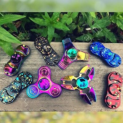 Metal Fidget Spinner UK Zinc Alloy Spinners Rainbow Colourful Hand Figet Toys