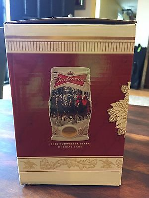 Brand New In Box 2014 Budweiser Holiday Stein With Certificate Of Authenticity