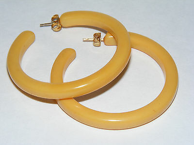 "Vintage Yellow Butterscotch BAKELITE 1-7/8"" Loop Hoop Earrings Post Pierced D1"