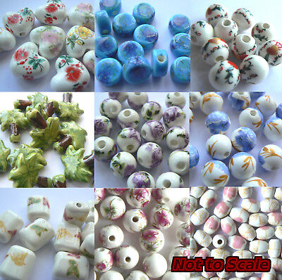 Beads - Porcelain or Ceramic - Various Shapes, Sizes & Colours x 10 beads