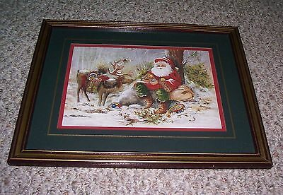 "Home Interiors Santa Reindeer Peggy Abrams Framed 15 1/2"" X 12 1/2"" Picture"