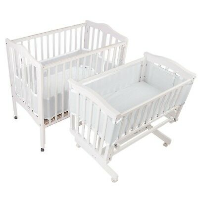 BreathableBaby Mesh Crib Liner for Portable and Cradle Cribs White
