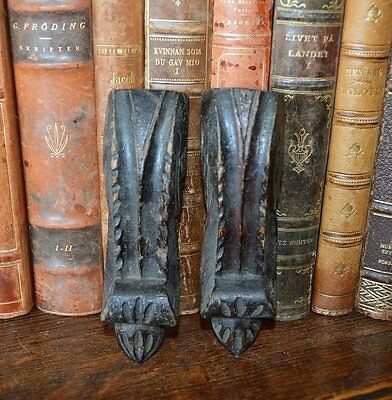 Antique Black Forest Pair of Carved Wood Corbels Brackets