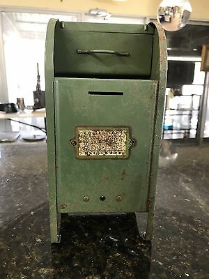 Vintage Green Metal USPS Mail Box Bank Early 1950's by All American - Inc Key
