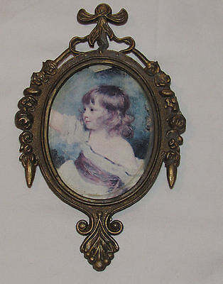 Vintage French Antiqued Gold Cast Metal French 4x6 Photo Picture Frame ITALY