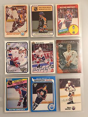1 Autographed Wayne Gretzky Card And Eight Others.