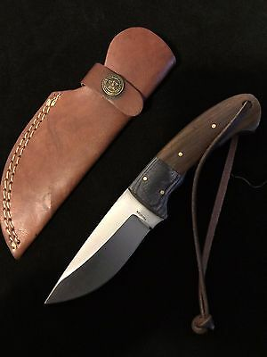 Survival Knife Purple Black Brown Wood Handle Hunting Knives Leather Sheath