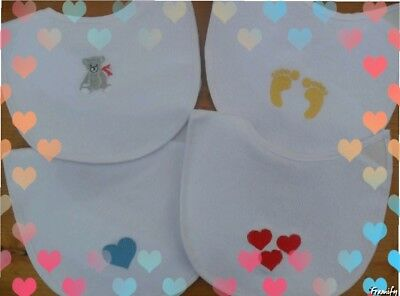 Personalised newborn baby gift Baby bib embroidered 4 designs any colour/name