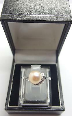 925 Sterling Silver ring Peach Freshwater Cultured Pearl Ring Size Q UK 8 US #K1