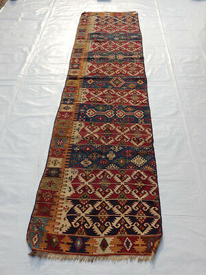 Old Traditional Hand Made Oriental Colourful Wool Kilim/Runner 336x82cm (168)