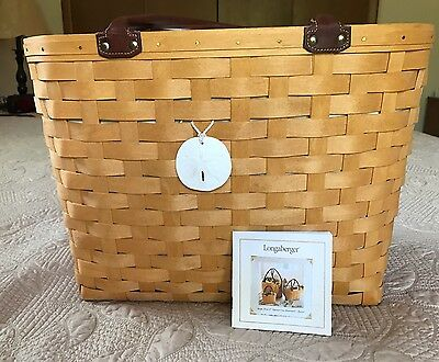 Longaberger 2001 Large Boardwalk Basket Tote Pool Beach Bag 10564 Leather Handle