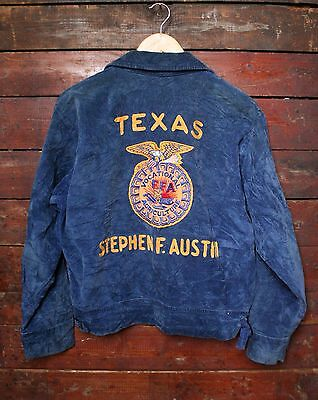 VTG 70s TEXAS STEPHEN F. AUSTIN NATIONAL FFA BLUE CORD CHAIN STITCH JACKET 40