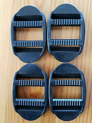 4 x 25mm black Plastic Double Ended Ladder Lock - For Webbing