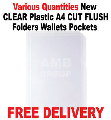 New CLEAR Plastic A4 CUT FLUSH Folders Wallets Pockets Top + Side Opening