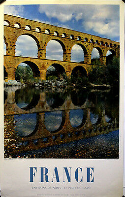 Roman Aqueducts Arches Over Water Original 1954 poster printed in France