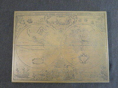 VTG Brass Hand Made England Etched Map Nova Totivs Terrarvm Orbis Geographica