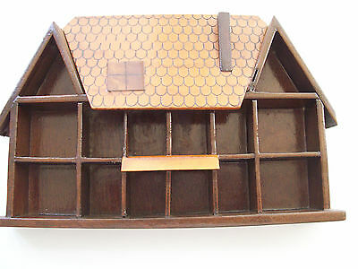 Nice Wall Thimble Unit (Wooden House) to Hold 14 Thimbles