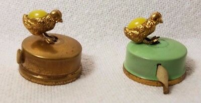 ONE RARE ANTIQUE Brass  mini DUCK with yellow EGG body TAPE MEASURE