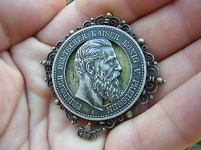Rare Antique Prussia Germany Silver Friedrich Kaiser Coin Pin Badge Medal Brooch