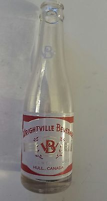 "Rare Canadian (Hull, Quebec) ""wrightville Beverage"" 7 Oz  Red/white Acl-Style #1"