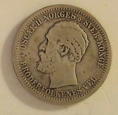 """Rare """"1877 Norway 1 Krone"""" Silver (.800) Coin Very Good Condition"""