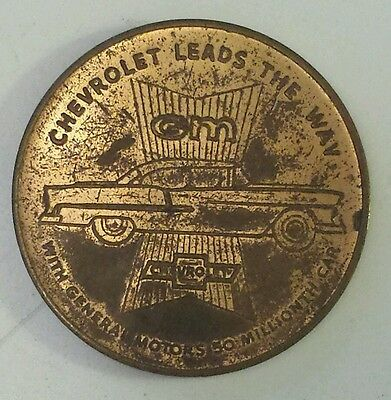 """""""chevrolet Leads The Way-50 Million Car"""" Commemorative Token-Very Good Condition"""