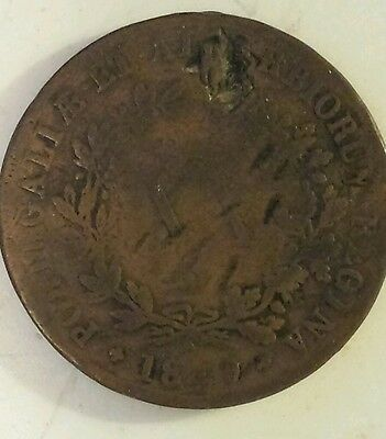 "Portugese ""1849 Portugal 20 Reis "" Copper  Coin Very Good Condition"