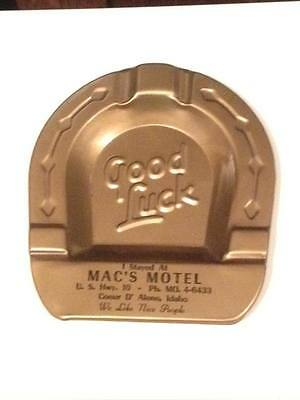 1950s Mac's Motel good luck advertising tin ashtray Great condition