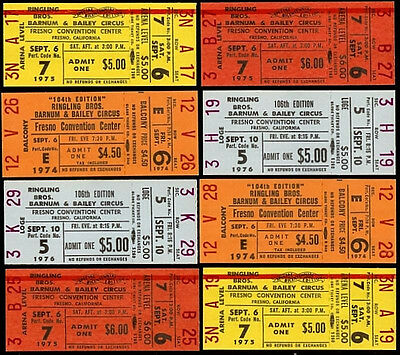 8 Super Rare Unused Ringling Brothers Barnum & Bailey Circus Tickets 1970's