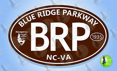 BLUE RIDGE PARKWAY (BROWN) Oval Bumper Sticker Travel Decal Souvenir