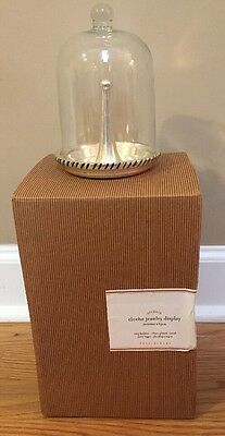 NEW Pottery Barn Glass RING Cloche Jewelry Storage SILVER PLATED FINISH