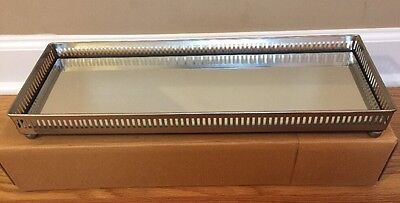 NEW Pottery Barn LARGE Mirrored Dresser-Top Tray SILVER *No Monogram