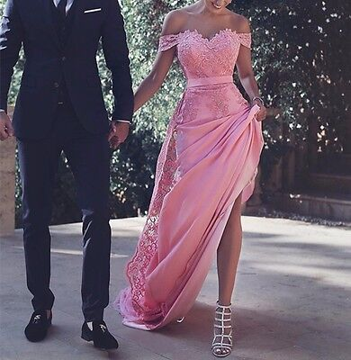 Formal Cap Sleeve Pink Lace Party Gown Handmade Long Prom Evening Dress