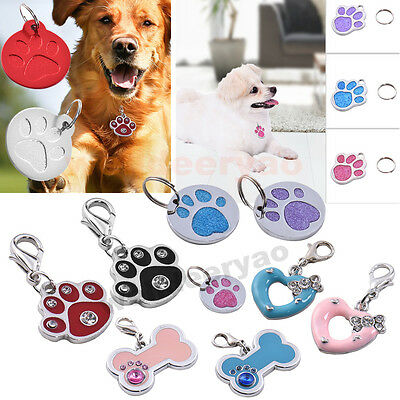 Hot Personalised Pet Dog Engraved Tag Puppy Cat Kitten Cute Paw Collar ID Tags