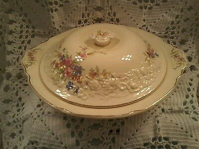 "Vintage 1930s Crown Ducal Florentine Covered Bowl ""Marie"""