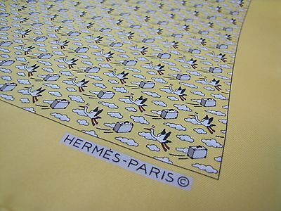HERMES Paris Pocket Square Scarf Yellow Whimsical Stork Cloud Suitcase Fly LNWOT