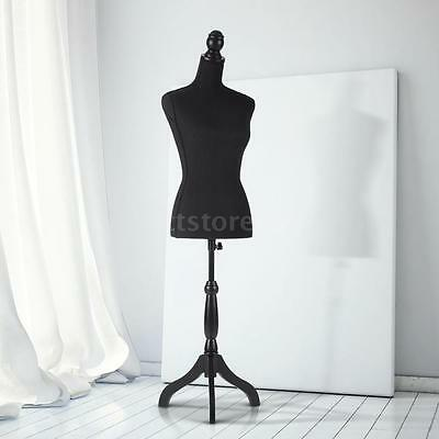 Female Mannequin Torso Dress Form Display W/ Tripod Stand Pinnable Black color
