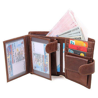 Brown Mens Genuine Leather Bifold Wallet Purse Large Capacity Card Case