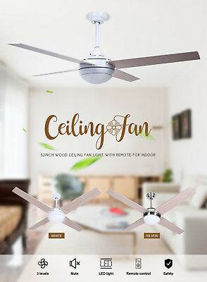 """NEW 52"""" White Stainless Steel LED Ceiling Fan with Remote Control AU DELIVERY"""